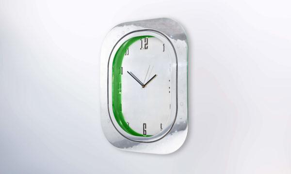 Airbus A320 Window Clock Polished Aluminium Face Green Back